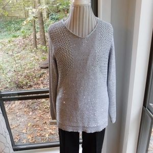 Sequin open knit, layered vneck sweater large